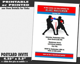 Boxing Birthday Party Invitations, Printable with Printed Option, Sports Themed Party, Invite with Boxers, Boy Birthday