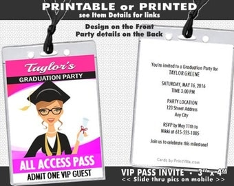 Mod Graduate Female Graduation Party VIP Pass Invitation, Printable with Printed Option, University Graduate, Pink Grad
