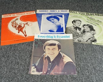 Sheet Music Collection x 4 c. 1940's - 70's