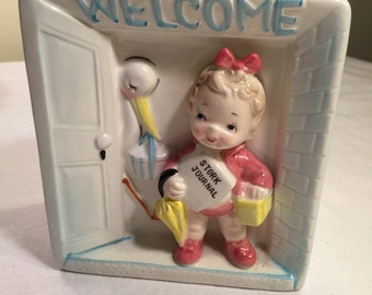 Perfect 1960's japan welcome baby vintage planter