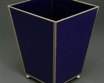 Metal and Glass Cobalt Waste Basket
