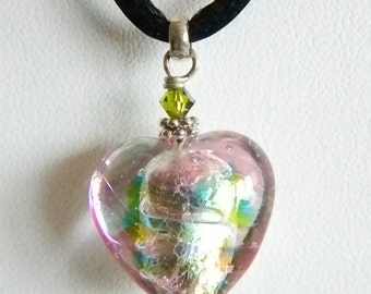 Venetian Glass Jewelry, Murano Glass Jewelry Marco Polo Designs Pastel Heart Pendant Necklace