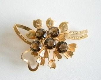 Matte Gold Tone Smoked Topaz Rhinestone Flower Cluster Pin Brooch