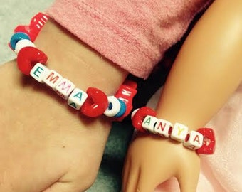 Custom Made to Order Dolly and Me Bracelets, American Girl