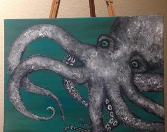 Vintage Style Octopus Acrylic Painting, Minimalist, Octopus, Kraken