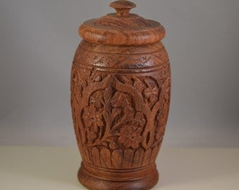 Vintage carved wooden vase,storage box