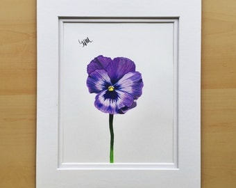 Purple flower drawing, wall art drawing, original pencil drawing, colored pencil drawing, 11x14 drawing, housewarming gift