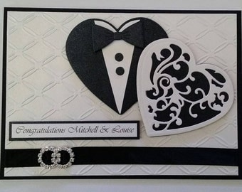 Hearts Wedding Card - Personalised