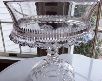 Reduced! EAPG Glass Pedestal Compote Cake Stand Art Deco Shell Pattern Crosshatch Gorgeous!