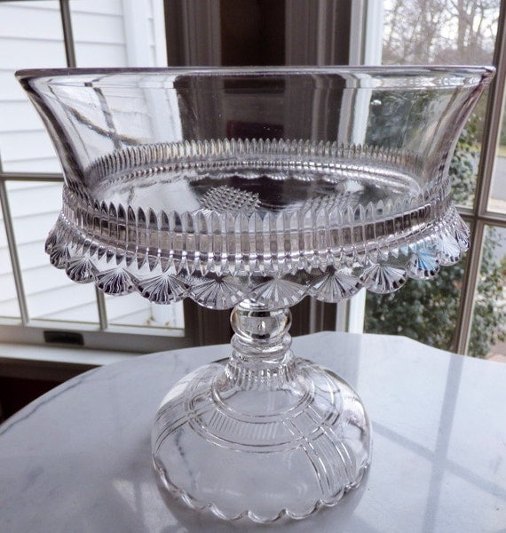 Art Deco Folding Cake Stand : Reduced EAPG Glass Pedestal Compote Cake Stand Art Deco Shell