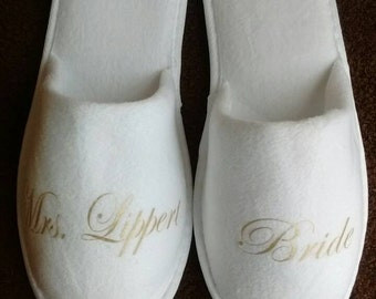Personalized Bridal Slippers - Bridal Parties - Wedding Slippers  Available in more colors