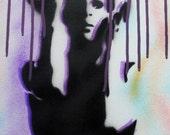 Prince artist original stencil spray paint air brush canvas art 40cmx 30cm