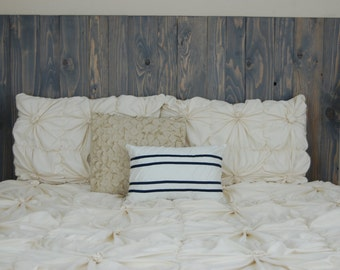 Barn Walls Queen Headboard - Classic Gray Stain. Hang on the wall like picture frames. Easy Installation