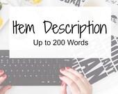 Item Description - Etsy Description - Etsy Listing - Listing Writer - Keywords
