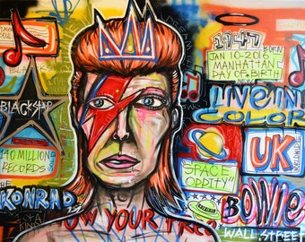DAVIDE BOWIE Street Art Print Hand Signed Abstract Urban Fine Art Poster Gallery Basquiat Dada