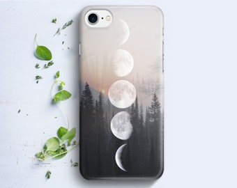 iPhone Case - Moon Phases on Wood Image - iPhone 4/4s iPhone 5 iPhone 5c iPhone 5s iPhone 6 iPhone 6 Plus iPhone 6s iPhone SE iPhone 7
