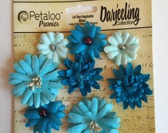Paper flower, Petaloo premier darjeeling collection tea stained teal flower, blue paper flower, flower scrapbook embellishment