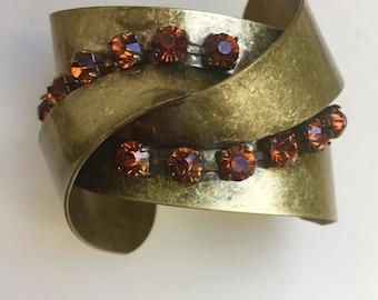Vintage Brass and Rhinestone Cuff