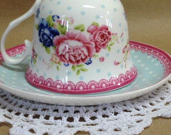Country Chic Tea Cup and Saucer, Polka Dot Saucer with Pink Roses Tea Cup