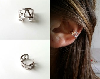 Silver 925, without piercing cartilage earring, earring double ring, Silver 925/000 - silver 925