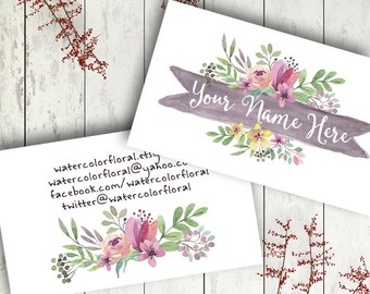 Custom business card watercolor floral modern graphics grey pink flowers digital download