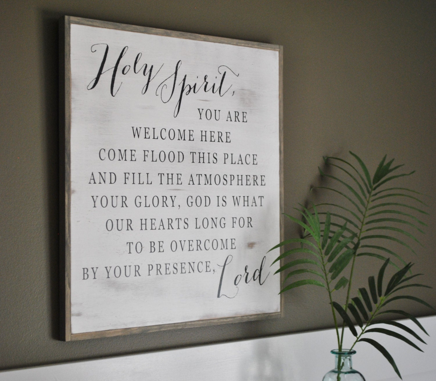 HOLY SPIRIT 2u0027X2u0027 || Inspirational Wall Art || Distressed Shabby Chic Decor  || Farmhouse Style Design || Framed Wooden Plaque