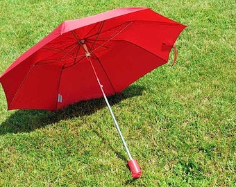 Vintage Collapsible Scarlet Red Compact Umbrella / Eaton Vintage Umbrella / Small Red Umbrella / Collapsible Compact Umbrella / Red Parasol