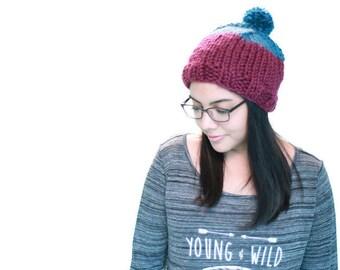 Two Tone Basic Chunky Knit Hat w/ Pom