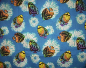 Tropical Fish blue multi color  30 inches by 60 inches wide neat colors