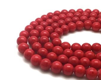 Round Red Mashan Jade Beads Strand 4∼10mm Red Candy Jade Red Mountain Jade Red Jade Red Mashan Stone