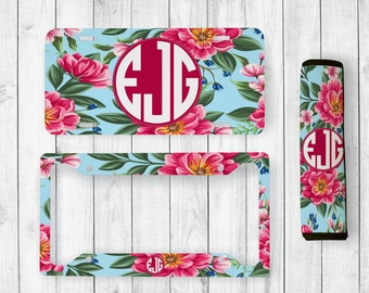 monogram license plate monogram license plate frame custom license tag personalized seatbelt cover floral monogram floral license plate