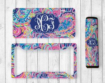 monogrammed license plate lilly inspired seatbelt cover monogrammed license plate frame lilly inspired monogram lilly car accessories