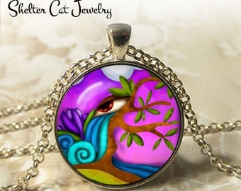 """Purple Eye Abstract Necklace - 1-1/4"""" Circle Pendant or Key Ring - Handmade Wearable Photo Art Jewelry - Artistic Nature Water Tree Gift"""