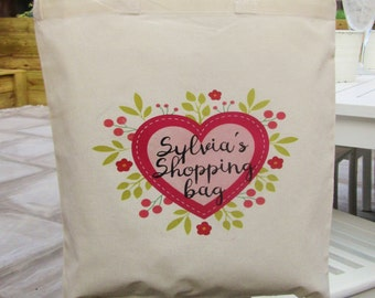 Floral Heart Design Personalised Tote Bag