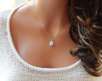 White Opal Necklace, Sterling Silver, Opal, Girlfriend Gift, Bridal Jewelry, Minimal Necklace [1012] [N-101 L]