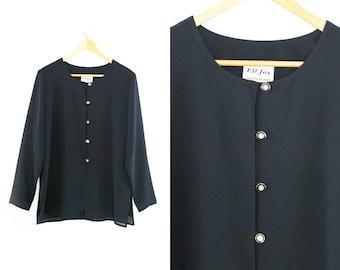 Vintage black blouse. Long sleeve. Minimalist blouse. Black shirt. Womens blouse.
