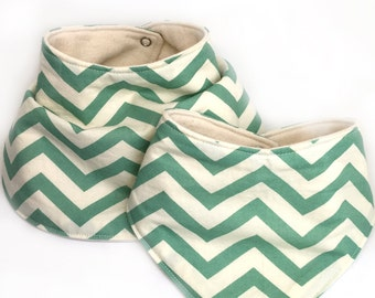 Infant drooling bibs - teal chevron - drooling bibs - organic cotton; chevron baby bibs; organic cotton drool bibs; baby girl drool bibs