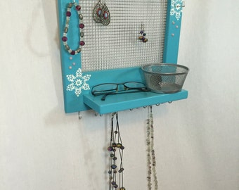 Blue frozen jewelry holder jewelry storage jewelry organizer frame with tray and mesh for earrings and necklace hooks