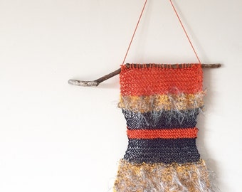 Textured Yellow, Navy Blue & Orange Knitted Wall Hanging Decoration