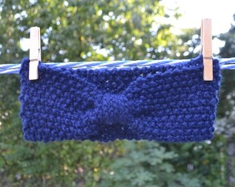 Wool Hand Knit Deep Blue Headband, Navy Blue Headband, Wool Headband, Hair Accessories, Ear Warmer, Head Warmer