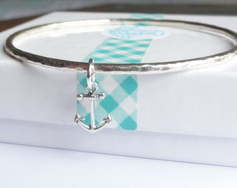 Sterling Silver Stacking Bangle with an Anchor Charm - Choose Size and Thickness