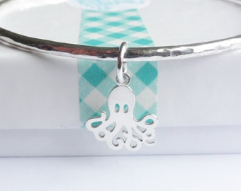 Sterling Silver Stacking Bangle with an Octopus Charm - Choose Size and Thickness