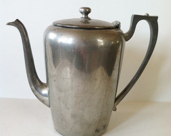 Pewter Coffee Pot Vintage Solid Pewter Chocolate Pot Shabby Chic Decor 3187 Cottage Style Early American Minimalist Design Teapot
