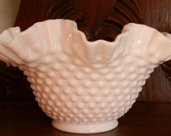 "Fenton Hobnail Milk Glass 9"" Bowl #3924"