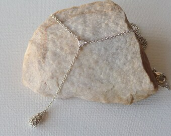 Silver Rhinestone Dangle Drop Chain Necklace Vintage Minimalist Rhinestone Teardrop Jewelry, Delicate Girls Necklace, Rhinestone Jewelry