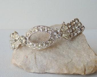 Rhinestone Signed Sarah Coventry Bracelet Clear Rhinestone Bracelet, Crystal Prong Bracelet, Wedding, Bridal, Party, Retro 50's, Costume