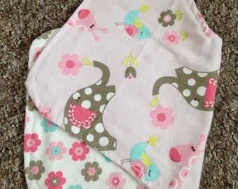 Burp cloth in pink with baby animals