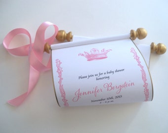 Baby shower invitation, princess crown scroll, shower invitation, pink and gold, royal shower invites, with presentation boxes, {10}