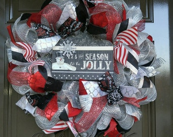 Christmas Wreath; Snowman Wreath; Black and Red Holiday Wreath
