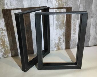 2 X Handmade Blackened Steel Seat Bench Pedestal Legs Industrial Style 40cm x 32cm
